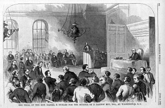 Daniel Sickles - The trial of Sickles. Engraving from Harper's.