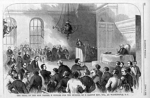 A depiction of the scene in the courtroom during Daniel Sickles' trial HarpersMagazineSicklesTrial.jpg