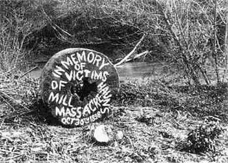 Haun's Mill massacre - A millstone shortly after being recovered