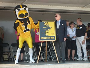 "Hayden Fry - Hayden Fry during the official dedication of the ""Hayden Fry Way"" in Coralville, Iowa, at the 2009 ""Fry Fest"""