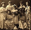 Hazel Chisholm (top right) and friends in costume for a school play, circa 1912. (27393860666).jpg