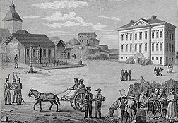 Central Helsinki in 1820 before rebuilding. Drawing by Carl Ludvig Engel.