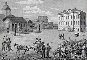 Helsinki - Central Helsinki in 1820 before rebuilding. Illustration by Carl Ludvig Engel.