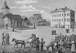 City Hall Square in Helsinki, Finland in 1820,...