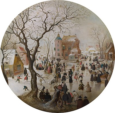 A Winter Scene with Skaters near a Castle