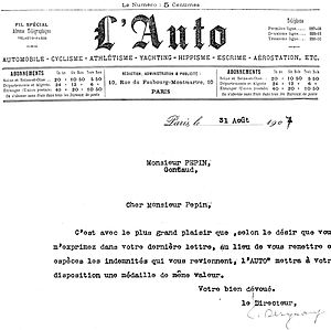 Henri Pépin - The letter from L'Auto promising Pépin a medal in lieu of his allowances.