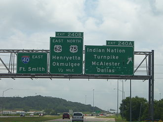 Interstate 40 in Oklahoma - Exit 240A