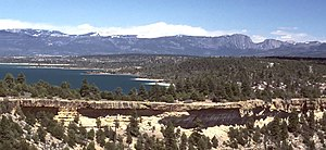 Heron Lake (New Mexico) - The Brazos Cliffs, Heron Lake, and the north wall of the Rio Chama Gorge, looking east.