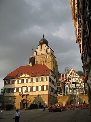 Herrenberg - Herrenberg town hall (Rathaus) in front of the historical collegial church (Stiftskirche)
