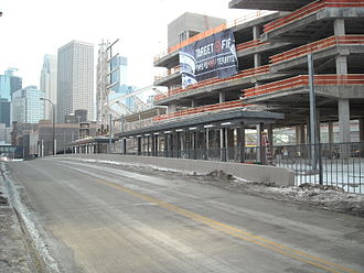 Target Field (Metro Transit station) -  First pair of platforms for light rail under construction.