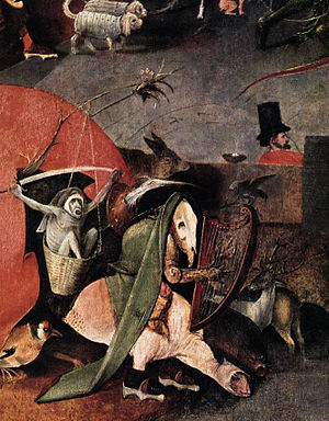 Triptych of the Temptation of St. Anthony - Detail of the central panel including the man in a top hat