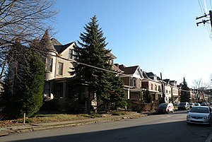 A view of a residential street in the Highland Park neighborhood of Pittsburgh, Pennsylvania.