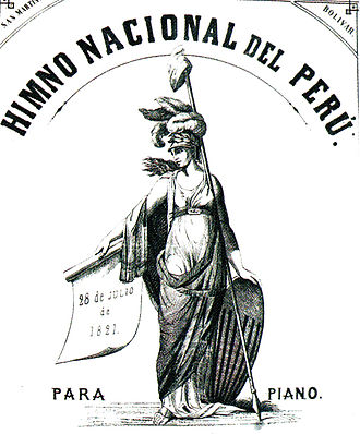 National Anthem of Peru - Cover of the sheet music for piano of the National Anthem with the arrangements of Carlos Juan Eksund (1863). This was the first version that included the apocryphal verse that remains the most popular until today.
