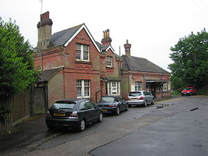 Hinton Admiral railway station - This building has a plaque on the wall indicating a construction date of 1886. The station has a small car park.