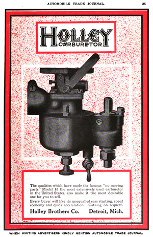 Holley Performance Products - Holley Brothers Company advertisement for carburetors in the Automobile Trade Journal, 1916.
