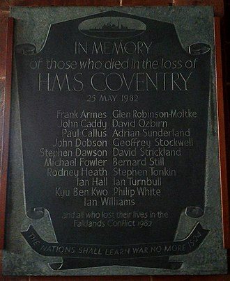 HMS Coventry (D118) - Memorial to the dead of HMS Coventry in Holy Trinity Church, Coventry