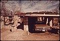 Home of a Worker from Mexico Who Built the Structure Himself. He Is a Shepherd and Maintains a Graveyard near Leakey Texas, and San Antonio, 12-1973 (3703578747).jpg