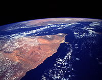 The Horn of Africa as seen from the NASA Space Shuttle, in May of 1993. The orange and tan colors in this image indicate a largely arid to semiarid climate.