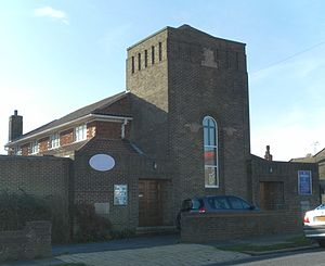 Hounsom Memorial United Reformed Church, Hove - Small clerestory windows light the interior of the church.