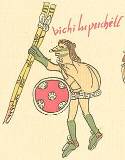Huitzilopochtli in human form in the Codex Telleriano-Remensis.