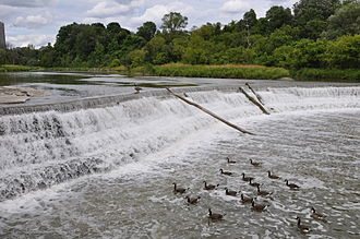 Flood control - A weir was built on the Humber River (Ontario) to prevent a recurrence of a catastrophic flood.