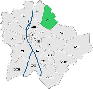 15th district of Budapest - Location of 15th District in Budapest