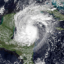 A satellite image showing Hurricane Rina at peak intensity on October 25.