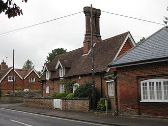 Hursley - Cottages in Hursley with distinctive chimneys