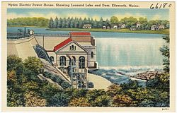 Hydro Electric Power House, showing Leonard Lake and dam, Ellsworth, Maine (66180).jpg