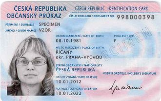 National identity cards in the European Economic Area - Image: ID card CZ 2012