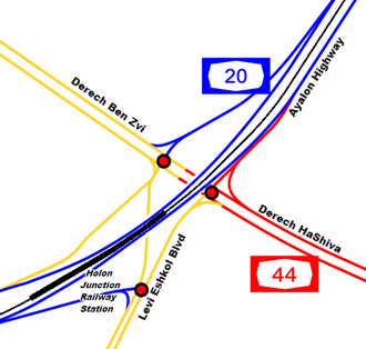 Highway 44 (Israel) - Image: I Ljunction holon