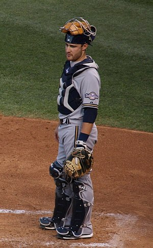 Jonathan Lucroy - Lucroy catching for the Milwaukee Brewers in 2011