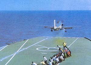 Indian Naval Air Arm - Aircraft Carrier INS Vikrant (R11) launching an Alize during the 1971 Indo-Pakistani war