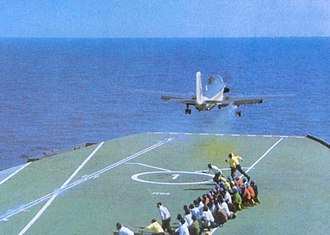 Indo-Pakistani War of 1971 - Image: INS Vikrant (R11) launches an Alize aircraft during Indo Pakistani War of 1971