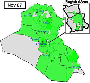 Iraqi territory where ISF lead counter-insurgency operations as of November, 2007. Green color represents Iraqi Army in the lead and gray color represents Coalition forces in the lead. Source: US DoD