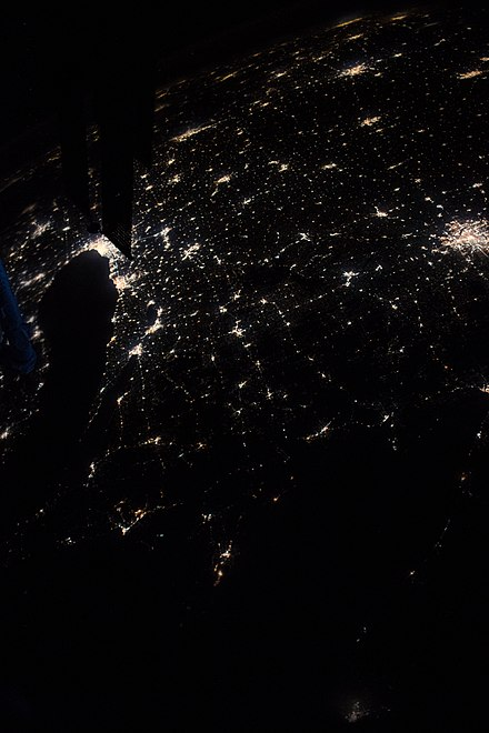 Cities of Wisconsin at 8:55:11 PM CST in 2018. Several cities pictured which are not in Wisconsin include Chicago (upper left near the solar panel) and Minneapolis (far right).