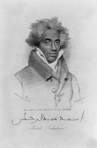 Islam in the United States - Drawing of Abdulrahman Ibrahim Ibn Sori, who was a Muslim prince from West Africa and made a slave in the United States.