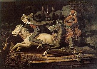 The Legend of Sleepy Hollow - Ichabod Crane, Respectfully Dedicated to Washington Irving. William J. Wilgus (1819–53), artist Chromolithograph, c. 1856