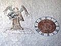 Im frühen 14. Jahrhundert schuf Rudolphus von Wimpfen die Fresken in der Marienkirche. Engel mit Uhr.jpg