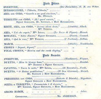 Charles Santley - Buckingham Palace recital programme 1864 (detail) showing Charles Santley performing scenes from Der Freischütz and Don Giovanni, in distinguished company.
