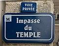 Impasse du Temple (Montpellier) en juin 2019 - panneau de rue.jpg