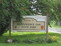 Independence Dam State Park sign.jpg
