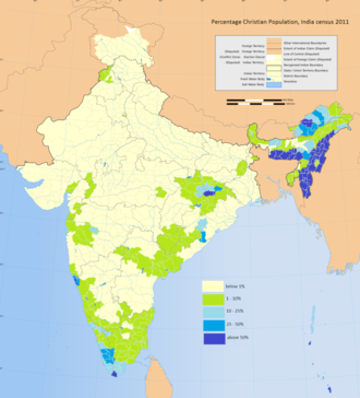 Percentage Christian population, India census 2011 India Christian.png