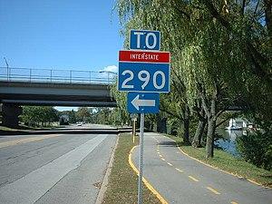 New York State Route 425 - Misshaped I-290 shields in Tonawanda along East Niagara Street at NY 425