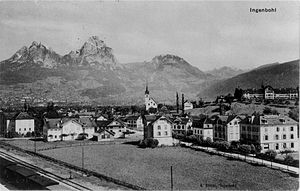 Ingenbohl - Ingenbohl village with the Mythen mountain in the background, picture from about 1900
