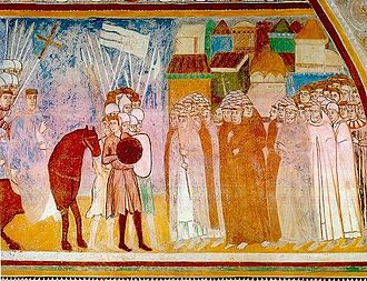 Visconti of Milan - January 21st 1277, after the victory obtained against the Della Torre in Desio, the archbishop Ottone Visconti enters in Milan (14th century fresco in the Rocca Borromeo di Angera)