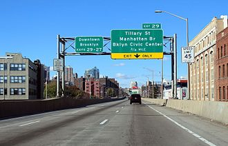 Interstate 278 - I-278 southbound approaching Brooklyn Civic Center