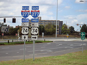 U.S. Route 74 - Image: Interstate 277 Directional Signs