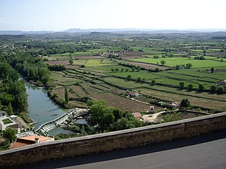 Lower Aragon - Landscape near Alcañiz with the Guadalope River in the foreground