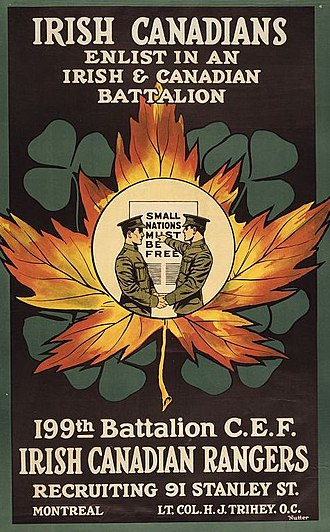 Harry Trihey - Recruitment poster for the Irish Canadian Rangers, c. 1915